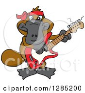 Clipart Of A Cartoon Happy Platypus Playing An Electric Guitar Royalty Free Vector Illustration by Dennis Holmes Designs
