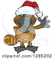Clipart Of A Friendly Waving Platypus Wearing A Christmas Santa Hat Royalty Free Vector Illustration by Dennis Holmes Designs