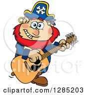 Clipart Of A Cartoon Happy Pirate Man Playing An Acoustic Guitar Royalty Free Vector Illustration