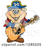 Cartoon Happy Pirate Woman Playing An Acoustic Guitar