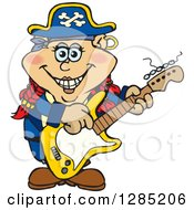 Cartoon Happy Pirate Woman Playing An Electric Guitar