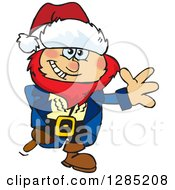 Clipart Of A Friendly Waving Male Pirate Wearing A Christmas Santa Hat Royalty Free Vector Illustration
