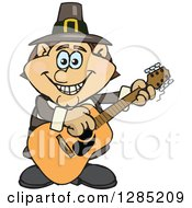 Clipart Of A Cartoon Happy Pilgrim Man Playing An Acoustic Guitar Royalty Free Vector Illustration by Dennis Holmes Designs