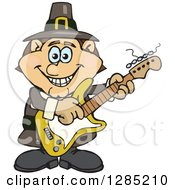 Clipart Of A Cartoon Happy Pilgrim Man Playing An Electric Guitar Royalty Free Vector Illustration