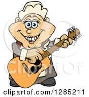 Clipart Of A Cartoon Happy Pilgrim Woman Playing An Acoustic Guitar Royalty Free Vector Illustration