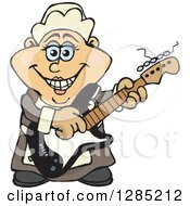 Clipart Of A Cartoon Happy Pilgrim Woman Playing An Electric Guitar Royalty Free Vector Illustration