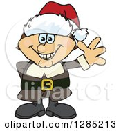 Clipart Of A Friendly Waving Male Pilgrim Wearing A Christmas Santa Hat Royalty Free Vector Illustration