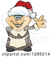 Clipart Of A Friendly Waving Female Pilgrim Wearing A Christmas Santa Hat Royalty Free Vector Illustration