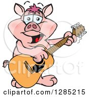 Clipart Of A Cartoon Happy Pig Playing An Acoustic Guitar Royalty Free Vector Illustration by Dennis Holmes Designs