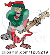 Cartoon Happy Pigeon Playing An Electric Guitar