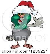Friendly Waving Pigeon Wearing A Christmas Santa Hat