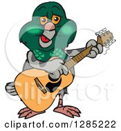 Cartoon Happy Pigeon Playing An Acoustic Guitar