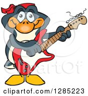 Clipart Of A Cartoon Happy Penguin Playing An Electric Guitar Royalty Free Vector Illustration by Dennis Holmes Designs