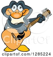 Clipart Of A Cartoon Happy Penguin Playing An Acoustic Guitar Royalty Free Vector Illustration by Dennis Holmes Designs