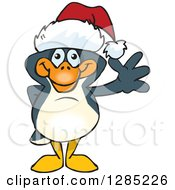 Clipart Of A Friendly Waving Penguin Wearing A Christmas Santa Hat Royalty Free Vector Illustration by Dennis Holmes Designs