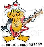 Cartoon Happy Pelican Playing An Electric Guitar