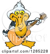 Cartoon Happy Pelican Playing An Acoustic Guitar