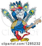 Cartoon Happy Peacock Playing An Electric Guitar