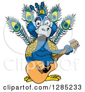 Cartoon Happy Peacock Playing An Acoustic Guitar