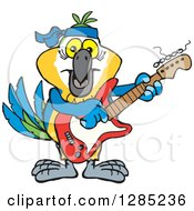 Clipart Of A Cartoon Happy Blue And Yellow Macaw Parrot Playing An Electric Guitar Royalty Free Vector Illustration