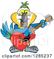 Clipart Of A Cartoon Happy Blue And Yellow Macaw Parrot Playing An Acoustic Guitar Royalty Free Vector Illustration