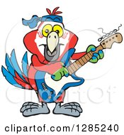 Clipart Of A Cartoon Happy Macaw Parrot Playing An Electric Guitar Royalty Free Vector Illustration by Dennis Holmes Designs