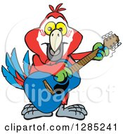 Clipart Of A Cartoon Happy Macaw Parrot Playing An Acoustic Guitar Royalty Free Vector Illustration by Dennis Holmes Designs