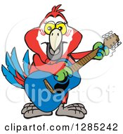 Clipart Of A Cartoon Happy Scarlet Macaw Parrot Playing An Acoustic Guitar Royalty Free Vector Illustration by Dennis Holmes Designs