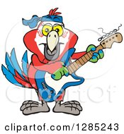 Clipart Of A Cartoon Happy Scarlet Macaw Parrot Playing An Electric Guitar Royalty Free Vector Illustration by Dennis Holmes Designs