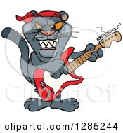 Clipart Of A Cartoon Black Panther Playing An Electric Guitar Royalty Free Vector Illustration