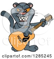 Clipart Of A Cartoon Black Panther Playing An Acoustic Guitar Royalty Free Vector Illustration