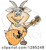 Clipart Of A Cartoon Happy Faun Pan Playing An Acoustic Guitar Royalty Free Vector Illustration