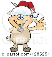 Clipart Of A Friendly Waving Faun Pan Wearing A Christmas Santa Hat Royalty Free Vector Illustration