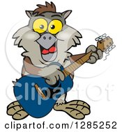 Clipart Of A Cartoon Happy Owl Playing An Acoustic Guitar Royalty Free Vector Illustration by Dennis Holmes Designs