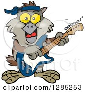 Clipart Of A Cartoon Happy Owl Playing An Electric Guitar Royalty Free Vector Illustration by Dennis Holmes Designs