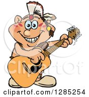 Clipart Of A Cartoon Happy Native American Man Playing An Acoustic Guitar Royalty Free Vector Illustration by Dennis Holmes Designs