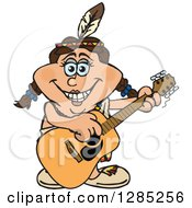 Clipart Of A Cartoon Happy Native American Woman Playing An Acoustic Guitar Royalty Free Vector Illustration