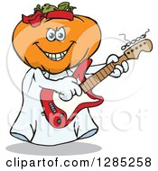 Clipart Of A Cartoon Jackolantern Ghost Playing An Electric Guitar Royalty Free Vector Illustration by Dennis Holmes Designs
