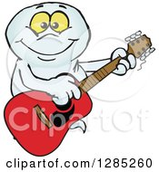 Clipart Of A Cartoon Happy Ghost Playing An Acoustic Guitar Royalty Free Vector Illustration by Dennis Holmes Designs