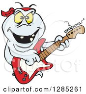 Clipart Of A Cartoon Evil Ghost Playing An Electric Guitar Royalty Free Vector Illustration by Dennis Holmes Designs