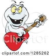 Clipart Of A Cartoon Evil Ghost Playing An Acoustic Guitar Royalty Free Vector Illustration by Dennis Holmes Designs