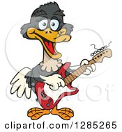 Clipart Of A Cartoon Happy Ostrich Playing An Electric Guitar Royalty Free Vector Illustration