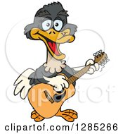 Clipart Of A Cartoon Happy Ostrich Playing An Acoustic Guitar Royalty Free Vector Illustration