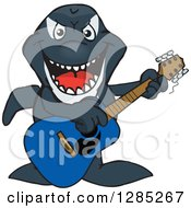 Clipart Of A Cartoon Happy Orca Killer Whale Playing An Acoustic Guitar Royalty Free Vector Illustration