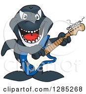 Clipart Of A Cartoon Happy Orca Killer Whale Playing An Electric Guitar Royalty Free Vector Illustration