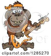 Cartoon Happy Orangutan Playing An Electric Guitar