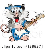 Cartoon Happy Opossum Playing An Electric Guitar