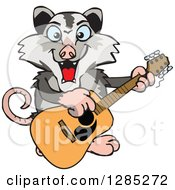 Cartoon Happy Opossum Playing An Acoustic Guitar