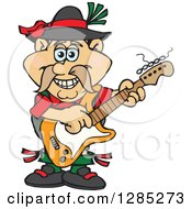 Clipart Of A Cartoon Happy German Oktoberfest Man Playing An Electric Guitar Royalty Free Vector Illustration