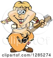 Clipart Of A Cartoon Happy German Oktoberfest Woman Playing An Acoustic Guitar Royalty Free Vector Illustration